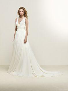 20 modieuze V-hals trouwjurken voor je droombruiloft - In White