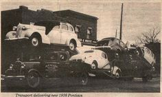 Transport delivering new 1936 Pontiacs www.TravisBarlow.com Towing Insurance & Auto Transporter Insurance for over 30 years