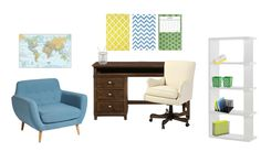 Office / studyroom - blue - yellow - green - brown - world
