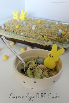 "Fun and Festive Easter Egg Dirt Cake! What kid doesn't love eating ""dirt""?"