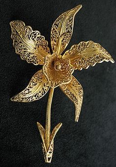 "1940s TOPAZIO Filigree ORCHID Flower Vintage brooch PORTUGAL. Stamped on back: ""TOPAZIO"", ""PORTUGAL"", and ""g 925""."
