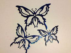 SET OF 3 BLUE BUTTERFLY METAL CUT OUTS FOR WALL, YARD OR GARDEN DECORATION