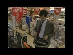 Quick Clip------Mr Bean - Shopping for Kitchen Goods----Mr Bean takes the escalator up to the kitchen department. He has brought a fish with him to try out in a frying pan and a potato to try out the peelers with. From The Return of Mr Bean. Ben Elton, Richard Curtis, Kitchen Goods, Mr Bean, Television Program, How To Get Away, Go Shopping, Esl, Cool Kitchens