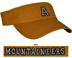 App State- Gold Visor  $16.99 + FREE shipping  Conference Apparel & College Sports Apparel - Conference Wear - Salisbury, North Carolina College Hats, App State, Sports Apparel, Salisbury, Sport Outfits, North Carolina, Conference, Free Shipping, How To Wear