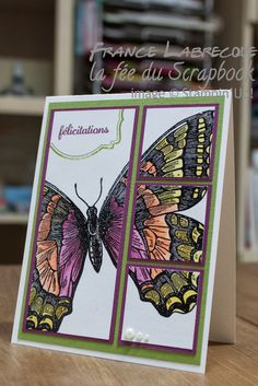 congratulations swallowtail card by France Labrecque... love how the butterfly is cut and matted on card