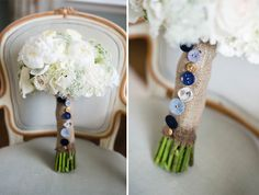 Burlap and Buttons on a White Wedding Bouquet