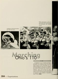 """Athena Yearbook, 1986. """"Ohio's Marching 110"""" """"With instruments in the air and cheeks full, the Marching 110 entertains the football crowd."""" :: Ohio University Archives"""
