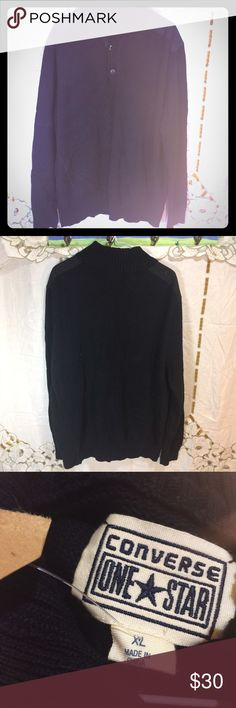 """Converse one star black sweater Men's size extra large Converse one star black sweater. Cloth shoulder patches. New with tag however tag is torn. The chest measures 29"""" flat across, the under arm sleeve measurement is 21"""" and this is 29"""" long. Converse Sweaters Zip Up"""