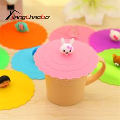 5Pcs Anti-dust TOP CAP Closure Water Drinking Cup Mug's Lid Cover TOP;Cartoon Healthy Silicone Cup Lid TOP Cup Cover