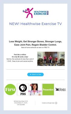 Lose Weight, Get Stronger Bones, Stronger Lungs, Ease Joint Pain, Regain Bladder Control. Best at home workouts as seen on PBS TV. Best At Home Workout, At Home Workouts, Pbs Tv, Fitness Online, Strong Bones, Fitness Workouts, Lunges, Lose Weight, Exercise