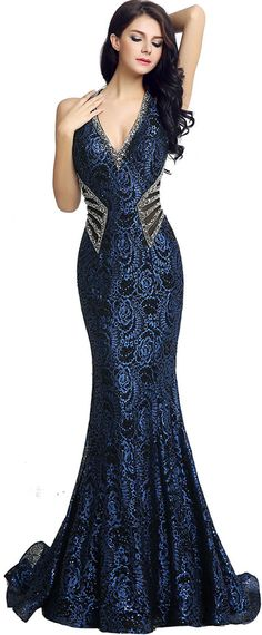 Glamorous Lace Halter Neckline Mermaid Evening Dresses With Beadings