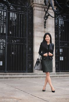Fall officewear: BlankNYC faux leather jacket and olive lace skirt
