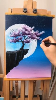 Painting Idea - Tree And Moon - A simple demo to show you how to draw tree and m. - Painting Idea – Tree And Moon – A simple demo to show you how to draw tree and moon. Cute Canvas Paintings, Canvas Painting Tutorials, Small Canvas Art, Diy Canvas Art, Acrylic Painting Canvas, Painting Techniques, Art Paintings, Moon Painting, Diy Painting