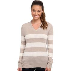 Patagonia Lightweight Merino V-neck Sweater (Wide Collegiate... ($58) ❤ liked on Polyvore featuring tops, sweaters, beige, merino sweater, wrap sweater, heart sweater, slouchy sweater and shawl collar sweater