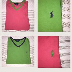 BOGO Ralph Lauren tee BOGO Ralph Lauren sport tee, beautiful green with navy trim and beautiful coral with green trim! 100% cotton so they're super soft. Pair with cute white jeans and sandals and you're ready for summer! Ralph Lauren Tops Tees - Short Sleeve