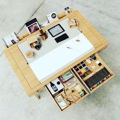 Risko Drawing Desk by Digitalab for Viarco. - Desk Wood - Ideas of Desk Wood - Risko Drawing Desk by Digitalab for Viarco. Home Art Studios, Art Studio At Home, Bureau Design, Design Desk, Rangement Art, Diy Furniture, Furniture Design, Furniture Dolly, Furniture Layout