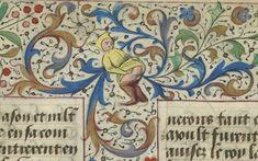 Medieval Teletubby making floral ornaments… (średniowieczny Teletubiś tworzący ornamenty) Le Livre des hystoires du Mirouer du monde, Paris 15th century. BnF, Français 328, fol. 19r