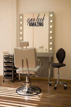 Items similar to Salon Mirror Decal, Beautician Vinyl Decal, Hair Stylist Gift, Good Hair Day Decal, Beauty Salon Decor on Etsy Home Hair Salons, Hair Salon Interior, Salon Interior Design, Home Salon, Salon Design, Salon Mirrors, Hair Stylist Gifts, Beauty Salon Decor, Salon Style