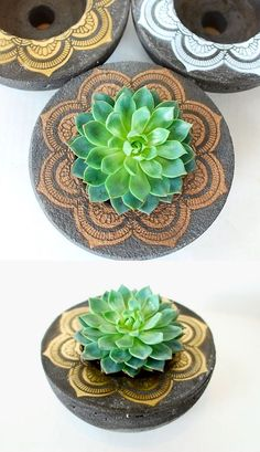 DIY: Make your own cool concrete vessels - you won't believe how cheap and easy - Salvabrani Concrete Pots, Concrete Design, Concrete Planters, Diy Planters, Succulent Centerpieces, Succulent Terrarium, Succulents Diy, Concrete Crafts, Concrete Projects