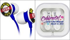 Ear Buds Bar & Bat Mitzvah Favors - Custom & Personalized by Cool Party Favors - mazelmoments.com