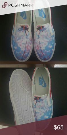 Nike Cherry Blossom Slip Ons Cherry Blossom Nike Slip Ons...super cute..Comes with box Nike Shoes Sneakers