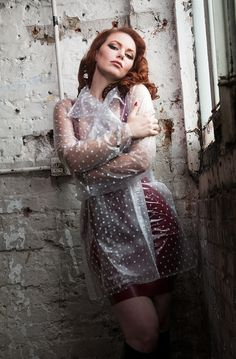 Short raincoat in soft semi trans PVc with white polka dots