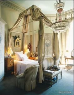 Paris bedroom in Neo- Classical style with beautiful canopy bed