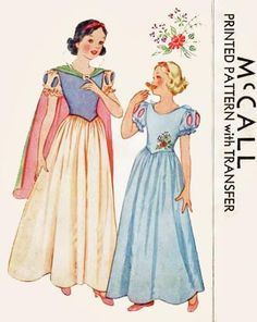 A wonderful McCall vintage Disney princess sewing pattern. #vintage #costumes #Halloween #sewing #pattern