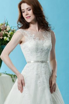 Style * BL128 * » Wedding Dresses » Black Label 2015 Spring Collection » by Eden Bridals » Available Colours : Ivory, Ivory/Champagne ~ Shown Sweetheart Bodice with Sheer Boat neckline & Satin Belt at waist (close up)