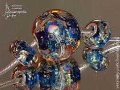 Pandora Handmade Lampwork Glass Charms //Комплекты украшений ручной работы. Ярмарка Мастеров - ручная работа Золотой океан. Handmade.
