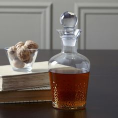 Medina Decanter |  Embellished with a delicate gold glitter pattern, this decanter encourages holiday cheer.