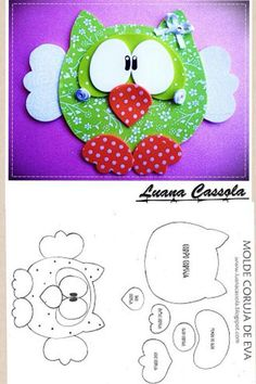 need to translate, scroll down for template for a cute mouse and this owl. Cd Crafts, Foam Crafts, Crafts For Kids, Arts And Crafts, Paper Crafts, Owl Patterns, Applique Patterns, Owl Templates, Felt Owls