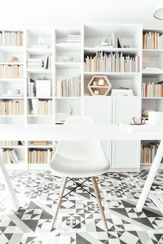 Once a garage, now a studio // home office with all white and patterned flooring