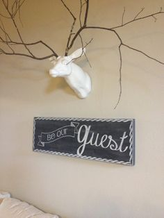 Be Our Guest - hand painted wood sign - chalkboard look