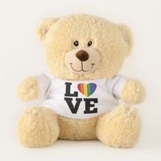 Love with a bright rainbow heart marriage equality teddy bear - valentines day gifts love couple diy personalize for her for him girlfriend boyfriend