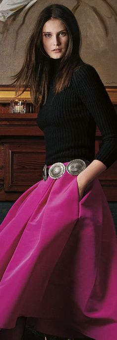 purple skirt, black sweater. women fashion outfit clothing stylish apparel @roressclothes closet ideas