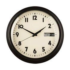 Wall Clock, Black Metal, Day/Date