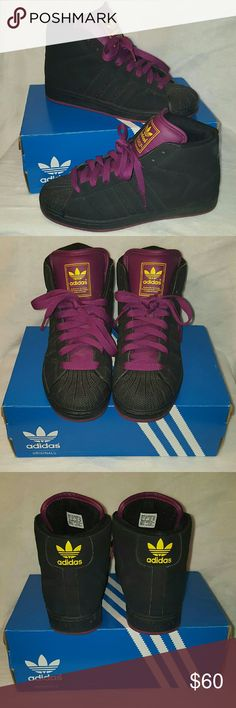 Vintage adidas All black suede shell toe adidas with purple tongue and yellow logo PLEASE NOTE the sole is not in the shoes I removed them and cannot locate them unfortunately but that does not take away from the excellent condition the exterior is in Adidas Shoes Athletic Shoes