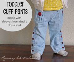 Running With Scissors: Tutorial: Toddler Pants from Dad's Sleeves -- the ultimate in upcycling