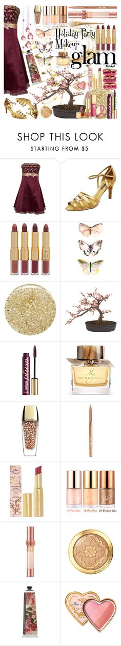 """""""Holiday Party Makeup"""" by michal100-15-4 ❤ liked on Polyvore featuring beauty, Naeem Khan, Ralph Lauren, tarte, Lancôme, Ladurée, Nearly Natural, Benefit, Burberry and Guerlain"""