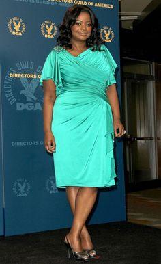 Octavia Spencer.  I like the style of the dress but the fabric looks 'shiny'.