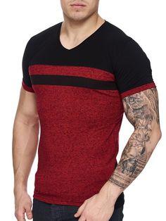 K&D Men Cross Band V-Neck T-shirt - Red