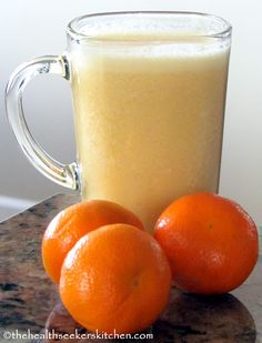 Raw Coconut-Creamsicle Smoothie  Printable Recipe  Serves 2    1 cup young coconut water  2 lemons (juiced)  1 cup fresh or frozen pineapple chunks  1 banana  3 mandarin oranges (peeled)  1 tsp. vanilla extract  1 cup ice      Place all ingredients in blender and blend until smooth and creamy.  Enjoy!!