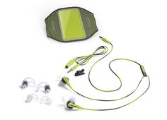 Reebok Bose® SIE2i sport headphones. These are great. Awesome sounds. They fit in your eat not around (which I've never liked). The don't fall out 3/4 of the way through your workout due to sweat either (my Beats by Dre headphones would always do that!)
