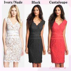 関税,送料込み★セレブ愛用!スカラップレースドレス★9色★ レースの裾やウエストデザインが女性らしいドレスです★体のラインを美しく見せてくれます!