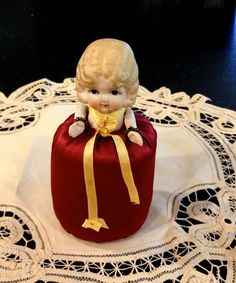 Kewpie Doll Pin Cushion Doll, 1920-1930, Bisque Body with Jointed Arms, Made in Japan