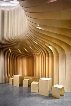 T Lounge - Wooden Tea Selling Shop Interior by Studio pha