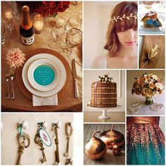 54 Ideas For Wedding Colors Teal Copper Turquoise Plum Color Palettes, Fall Color Palette, Wedding Color Schemes, Wedding Colors, Colour Schemes, Wedding Flowers, Wedding Dresses, Rustic Turquoise Wedding, Bronze Wedding