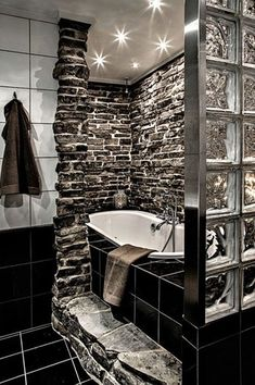 Contemporary Master Bathroom with slate tile floors, Master bathroom, Crown molding, tiled wall showerbath, Rain shower