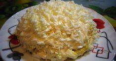 """Салат  """" Невеста """"  Ингредиенты Копченое куриное филе 300 г  Яйца 4 шт Плавленый сыр 4 шт Картофель 2 шт Лук """" маринованный """"  сколько хотите."""